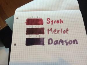 Diamine Syrah, Merlot & Damson, swab samples
